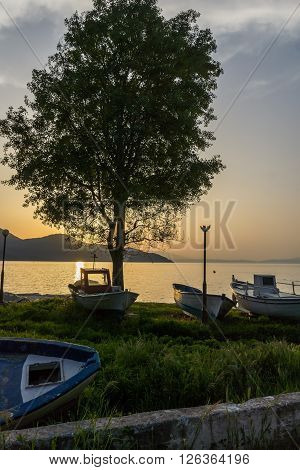 Amazing Sunset on embankment of Thassos town, East Macedonia and Thrace, Greece