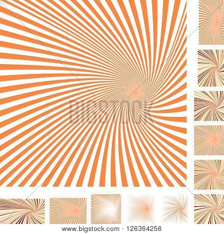 Orange and white vector spiral design background set. Different color, gradient, screen, paper size versions.