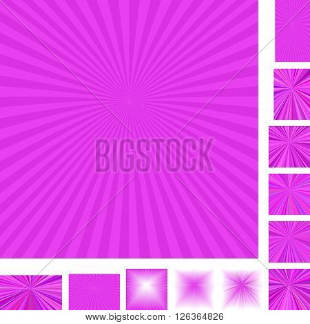 Magenta vector ray burst design background set. Different color, gradient, screen, paper size versions.