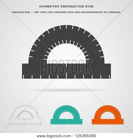 Vector Geometry Protractor Ruler Icon. Element for your geometry, architecture, student, education and other your projects, web and application icon over white.