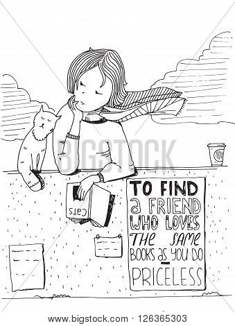 Girl and cat reading book. Vector hand drawn illustration made with black ink and white paper. Isolated on white with simple motivating educational lettering quote perfect for bookstore library.