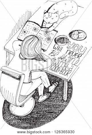 Girl and cat reading book. Vector hand drawn illustration made with black ink white paper. Isolated on white with simple motivating educational lettering quote perfect for a bookstore or library.