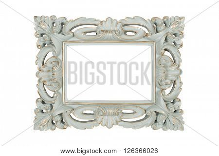 Aquamarine carved picture frame isolated over white with clipping path.
