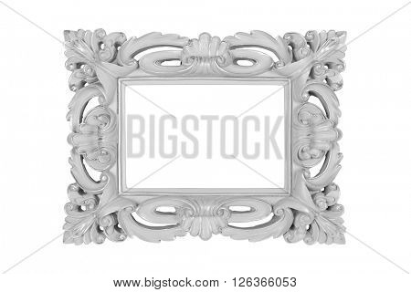 Grey carved picture frame isolated over white with clipping path.