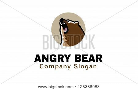 Angry Bear Creative And Symbolic Logo Design Illustration