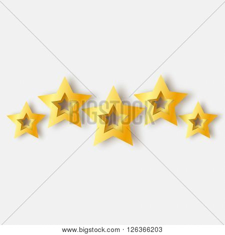 Five Realistic Origami 3D gold stars on a white background. Award winner. 5 golden foil stars. Good job. Best reward. Choice. VIP. Premium class. Vector illustration design template