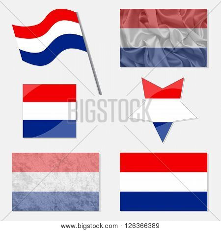 Flags of Netherlands Made in Different Variations: in Flat Design with Fabric Texture and as Web Buttons