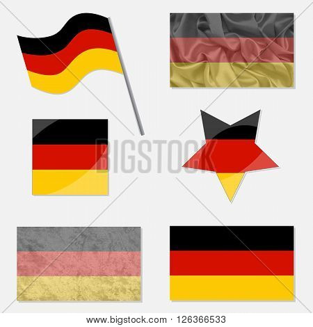 Flags of Germany Made in Different Variations: in Flat Design with Fabric Texture and as Web Buttons