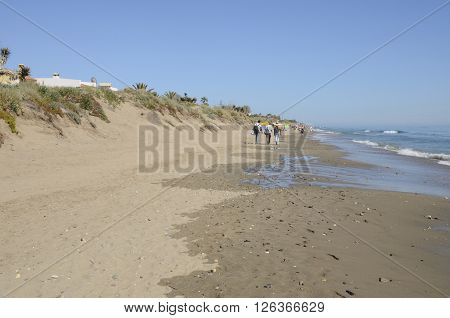 MARBELLA, SPAIN - APRIL 9, 2016: Some people walking at the shore of the beach in a sunny day in spring in Marbella Spain.