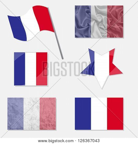 Flags of France Made in Different Variations: in Flat Design with Fabric Texture and as Web Buttons