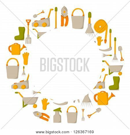 Vector garden tools background. Cartoon garden tools objects. Garden equipment and farming tools. Farm work tools concept. Spring summer outdoor work. Garden plants care. Vector gardening tools