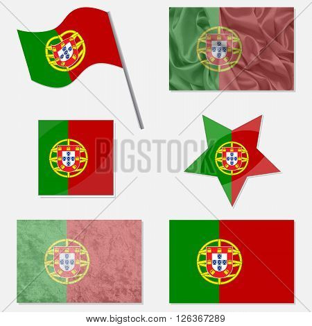 Flags of Portugal Made in Different Variations: in Flat Design with Fabric Texture and as Web Buttons