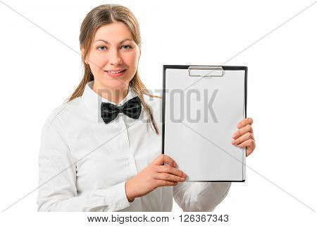 Beautiful Waitress With A Notepad Isolated On White Background