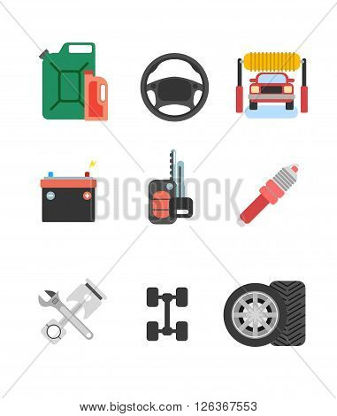 Car parts vector set. Car service vector icon set. Car parts shop banner. Car service. Tire service vector icon set. Repair car service