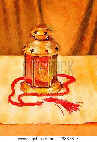 Ramadan Art. Ramadan light and prayer beads. Still life in water color.