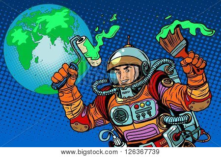 green Earth ecology astronaut pop art retro style. Caring for the environment. Space and modern technology. Earth day