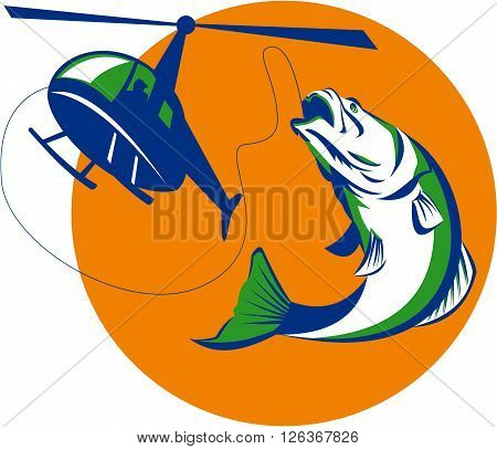 Illustration of helicpoter heli fishing reeling a jumping barramundi or Asian sea bass (Lates calcarifer) with sun in background on isolated background done in retro style.