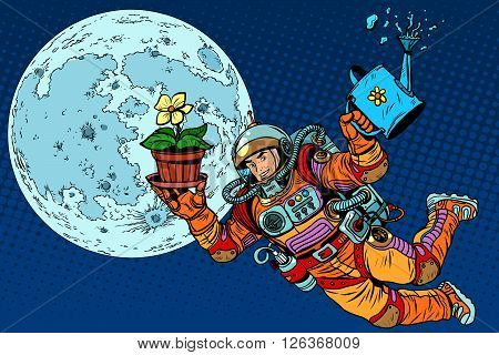 Colonization moon astronaut plants pop art retro style. Ecology and science. Caring for the planet. Man astronaut