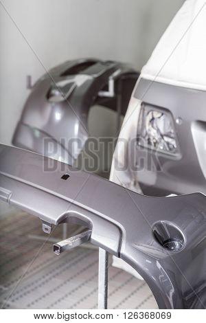 Auto body repair series : Masked suv before repaint