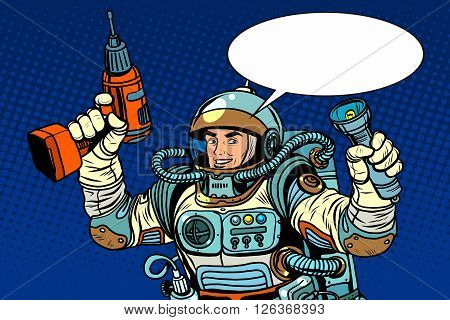 Astronaut with a drill and flashlight pop art retro style. Repair equipment