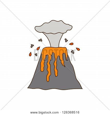 Vector illustration with volcano eruption. Hand drawn cartoon volcano eruption concept. Vector volcano on natural disaster theme. Volcano disaster with magma and steam. Vector volcano eruption