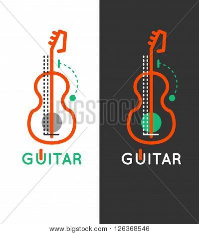 Guitar music shop vector logo. Guitar lessons icon. Outline guitar design. Guitar online store. Guitar vector icon set.