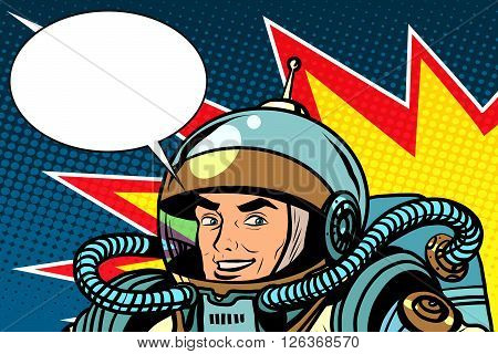 astronaut joyful energetic pop art retro style. Science fiction and space. The captain of a spaceship. Retro astronaut. Vector astronaut