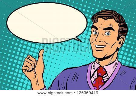 man like retro vector illustration pop art retro style. Approval well