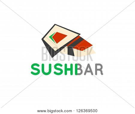 Sushi cafe or sushi bar vector logo. Sushi with fresh tuna sign. Salmon sushi vector icon. Sushi bar menu. Traditional japan sushi.