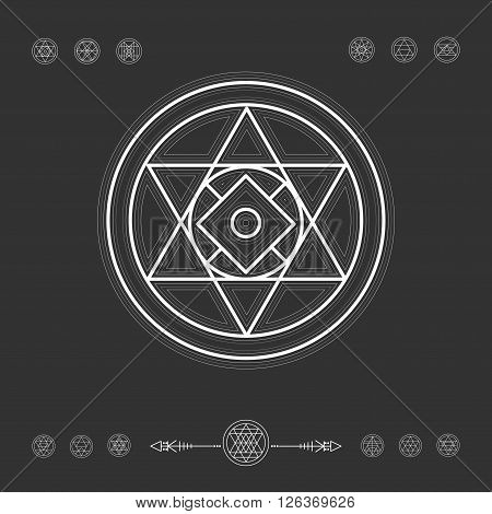 Sacred geometry. Set of minimal geometric shapes. Religion, philosophy, spirituality, occultism symbols collection