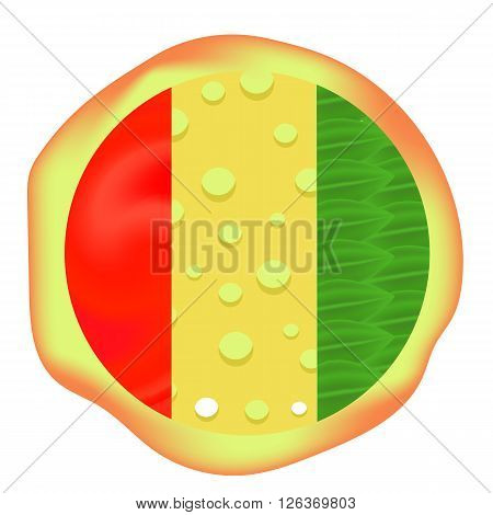 Hot Pizza Isolated on White Background. Baked Pizza
