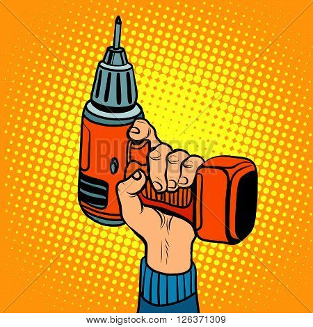 Hand with an electric drill. Home repair and tools. Pop art retro style vector tool