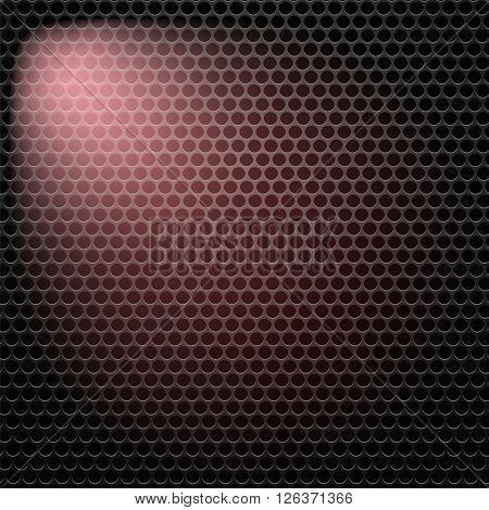Dark Iron Perforated Background. Abstract Circle Pattern.
