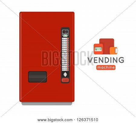 Vending machine vector set. Sell snacks and soda drinks vending machines. Vending machine with copropriete. Vending machine credit card pay. Vending machine merchandising.