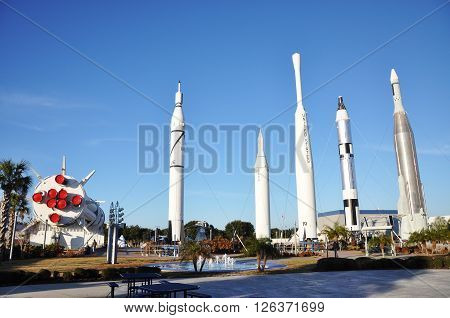 FLORIDA, USA - DEC 20: Rocket Garden in Kennedy Space Center Visitor Complex on Dec. 20, 2010 in Cape Canaveral, Florida, USA.