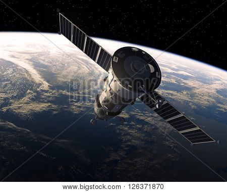 Cargo Spacecraft In Space. Realistic 3D Scene.
