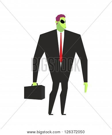 Alien Businessman. Ufo Boss. Martian In Business Suit. Alien And Case. Space Ambassador With Suitcas
