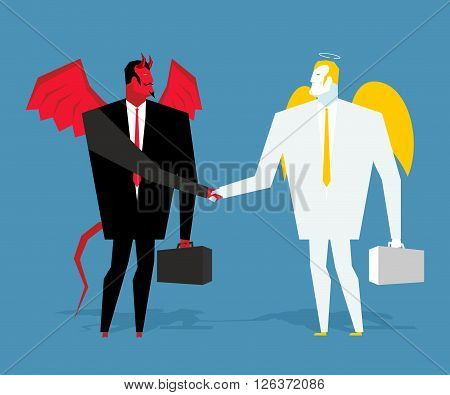 Angel And Demon Deal. Satan And Angel Shake Hands. Handshake Of Businessmen. ?ontract Between Devil