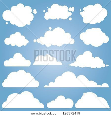 Set for blue sky, different clouds. Cloud icon, cloud shape, label, symbol, logo. Flat graphic element vector