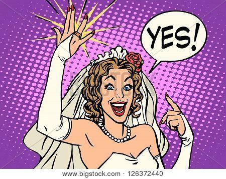 bride wedding ring happiness pop art retro style. Beautiful woman smiling. The joy of a wedding celebration. Vector bride