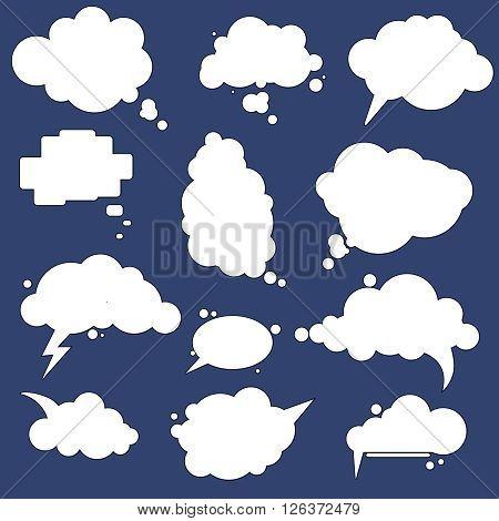 Set of different speak bubbles, speak clouds. Flat graphic element vector shapes