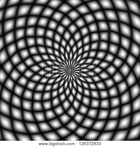 Black and white psychedelic background. Optical illusion.