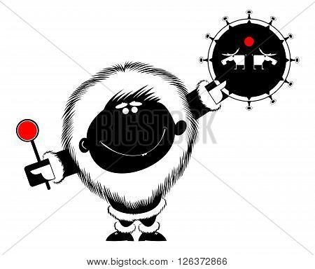 Shaman illustration. Smiling man beats the tambourine