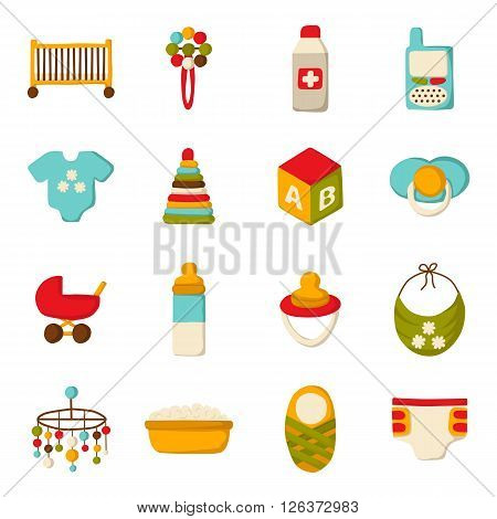 Vector newborn goods. Baby shower concept. Newborn goods in cartoon style. Baby care icons. Vector illustration with newborn goods for baby design. Isolated newborn baby icons. Vector newborn concept