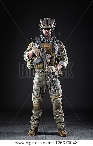 Us Army Soldier On Dark Background