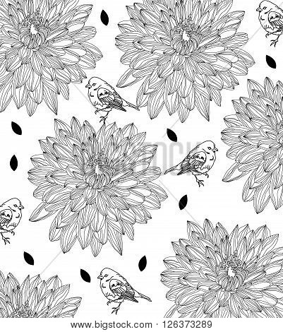 beautiful plain background pinname flowers and birds on a white background with leaves that you can use to design clothes, vector monochrome background