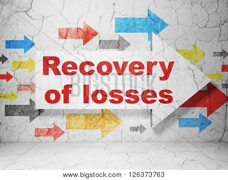 Currency concept: arrow with Recovery Of losses on grunge wall background