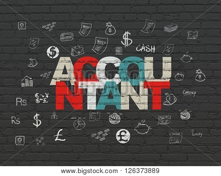 Currency concept: Accountant on wall background