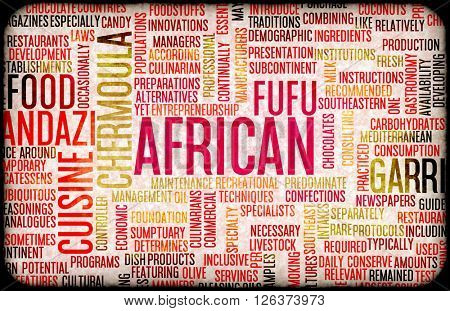 African Food and Cuisine Menu Background with Local Dishes