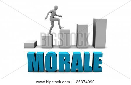 Morale 3D Concept  in Blue with Bar Chart Graph 3D Illustration Render